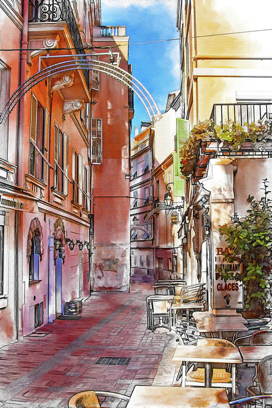 Monaco Art Print featuring the photograph Narrow street in Monaco by Tatiana Travelways