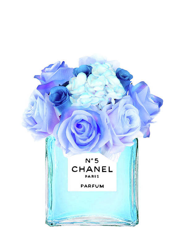 Coco Chanel Quotes Iphone Wallpaper Blue Chanel No 5 With Blue Roses Art Print By Del Art