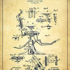 Vintage Dentist Chair Legs Caps Patent Drawing From 1892 Art Print By Aged Pixel Featuring The Digital