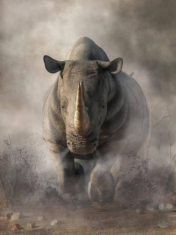 charging rhino art print