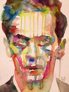 Wittgenstein Art Print featuring the painting Ludwig Wittgenstein - Watercolor Portrait.7 by Fabrizio Cassetta