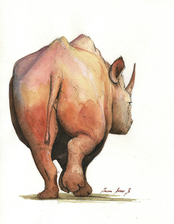rhino back art print