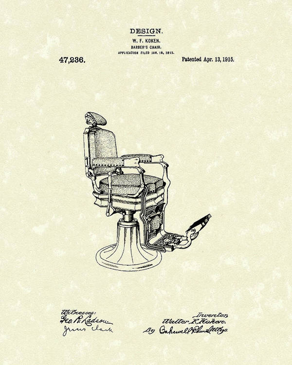 chair design patent rattan repair kit barber s 1915 art print by prior koken featuring the drawing