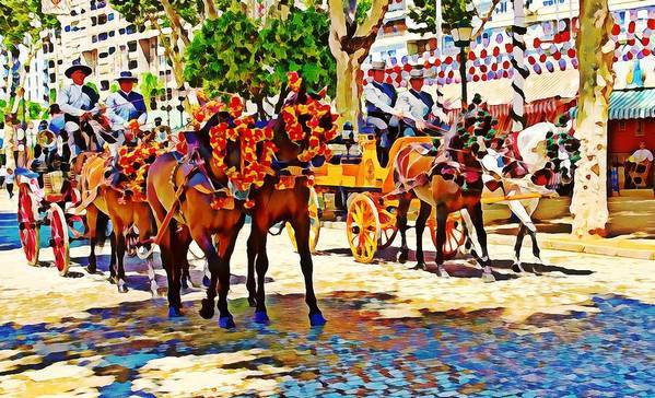 May Day Art Print featuring the digital art May Day Fair In Sevilla, Spain by Tatiana Travelways