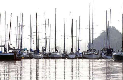Sailboats reflected by Sharon Popek