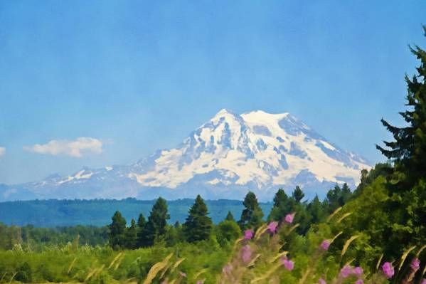 Mount Rainier Art Print featuring the photograph Mount Rainier Watercolor by Tatiana Travelways