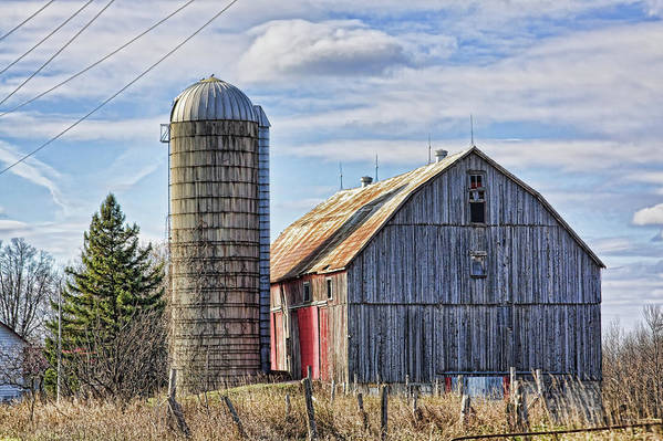 Barn Art Print featuring the photograph Old Barn And Silo by Tatiana Travelways