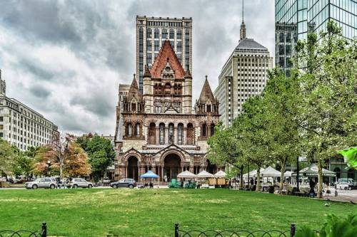Storm clouds roll in over Trinity Church in Copley Square in Boston, MA.