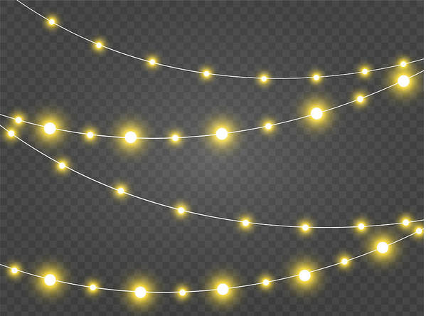 christmas lights isolated realistic