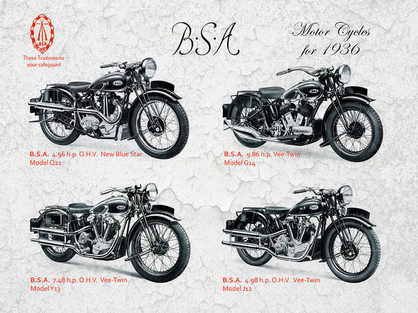 Bsa Motor Cycles For 1936 Art Print by Mark Rogan