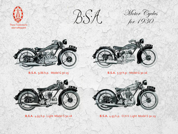 Bsa Motor Cycles For 1930 Art Print by Mark Rogan