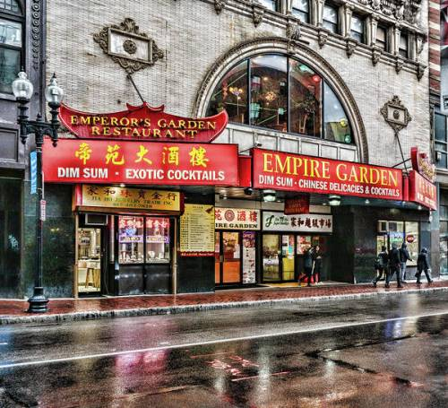 The brightly lit marquee for the Empire Garden in Chinatown.