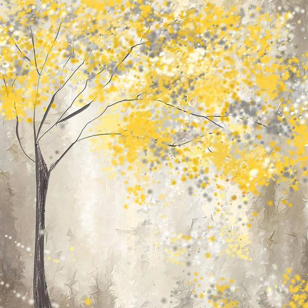 Yellow And Gray Tree Art Print by Lourry Legarde