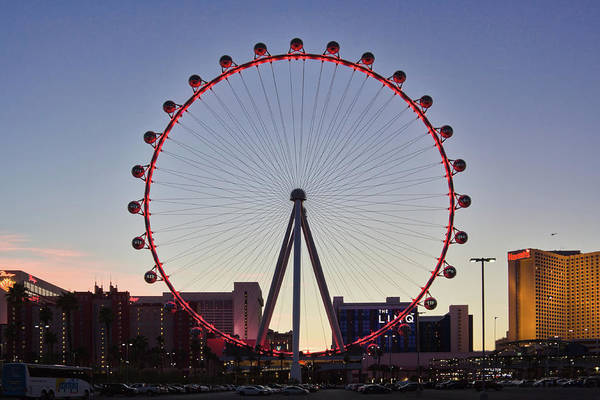 Linq Art Print featuring the photograph Link High Roller Wheel Las Vegas, At Dusk by Tatiana Travelways