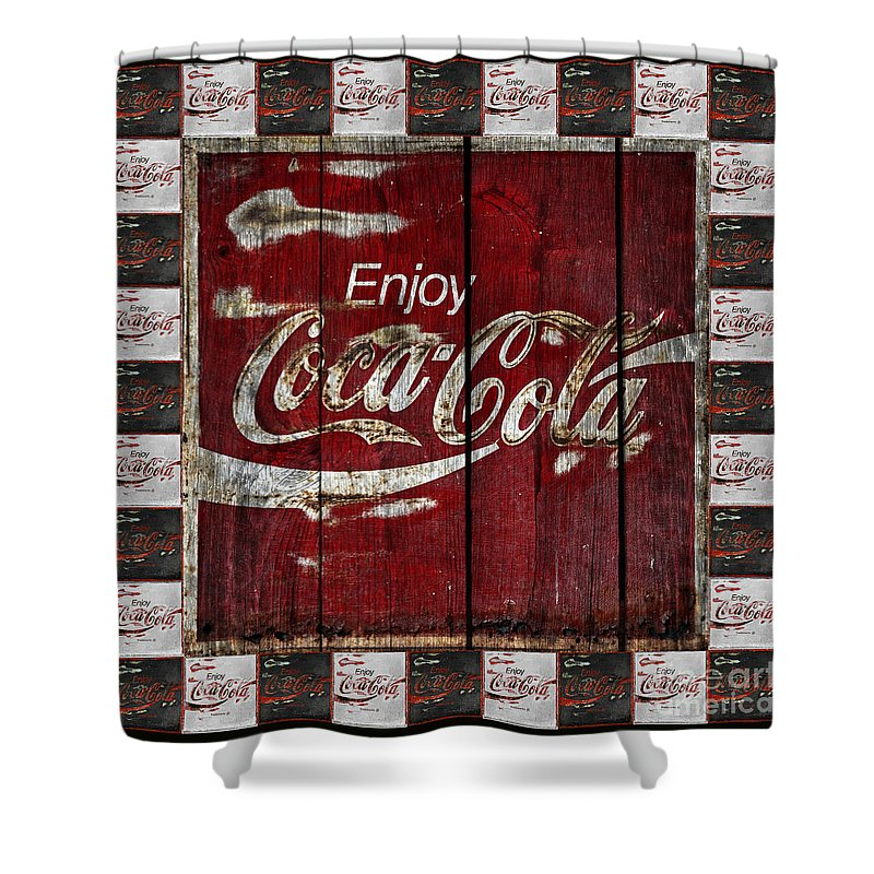 coca cola sign with little cokes border shower curtain