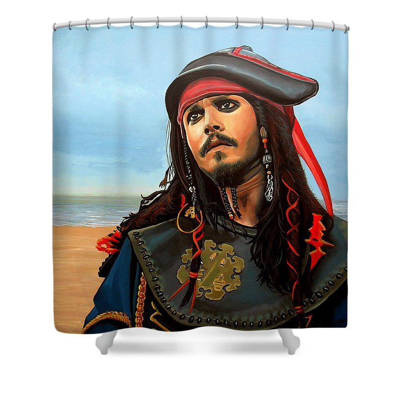 Johnny Depp Jack Sparrow Shower Curtain Paul Meijering