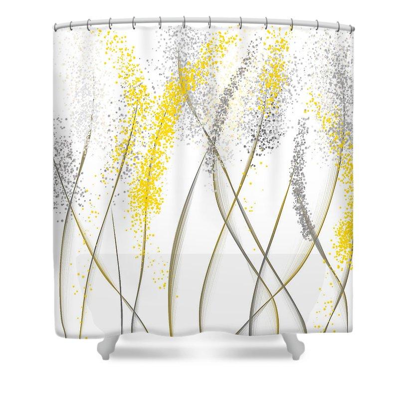 neutral sunshine yellow and gray modern art shower curtain