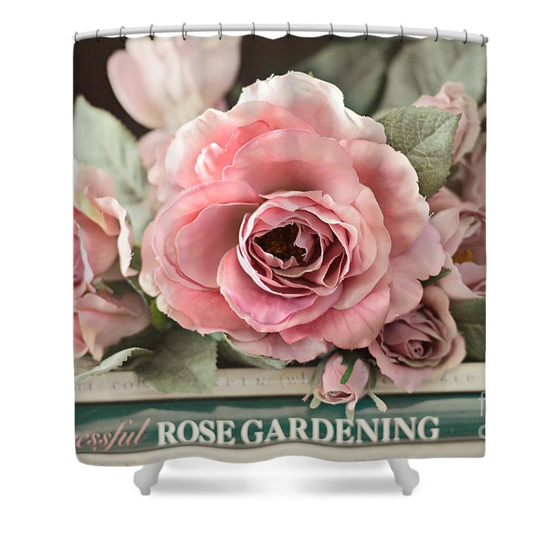 shabby chic vintage roses dreamy ethereal peach pink roses garden cottage art shower curtain