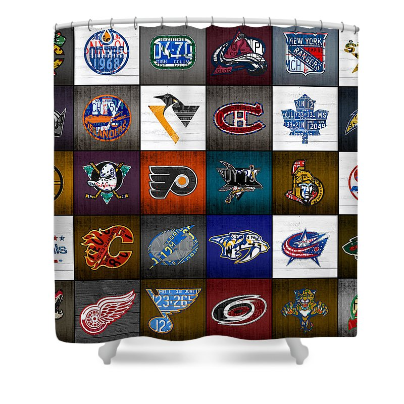 time to lace up the skates recycled vintage hockey league team logos license plate art shower curtain