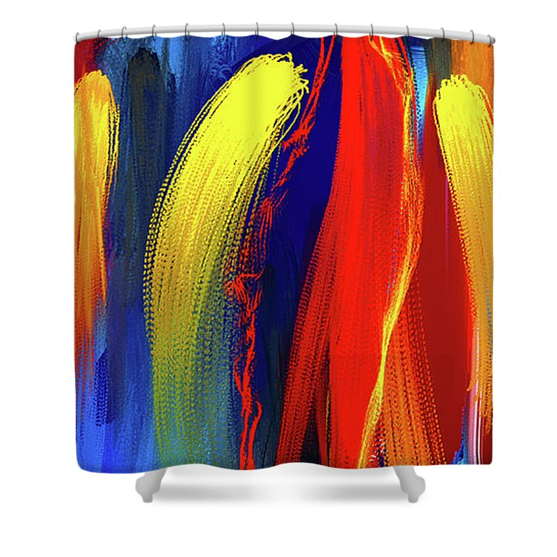 be bold primary colors abstract art shower curtain