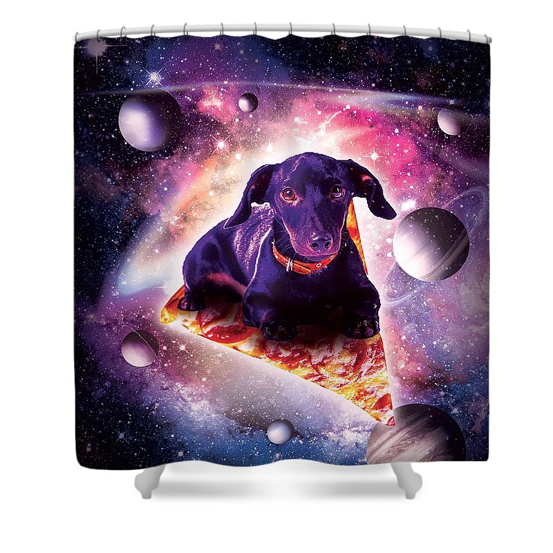 outer space galaxy dog riding pizza shower curtain