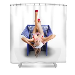 Chair Upside Down On Wall Wood Tables And Chairs For Restaurants American Pinup Woman Cane Shower Curtain Nautical Featuring The Photograph By Jorgo