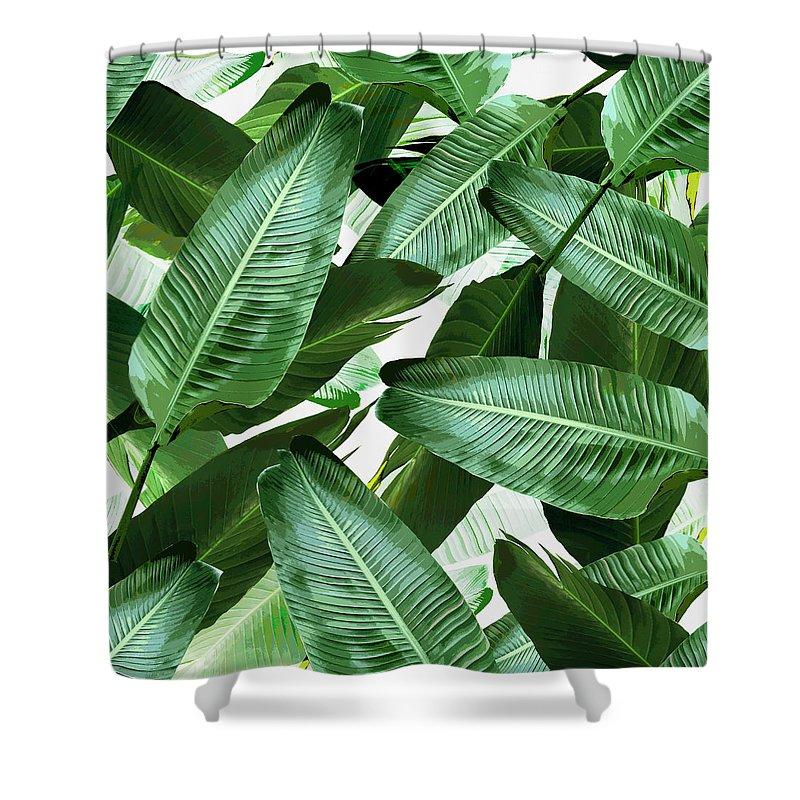 banana leaf swaying palm leaf shower curtain