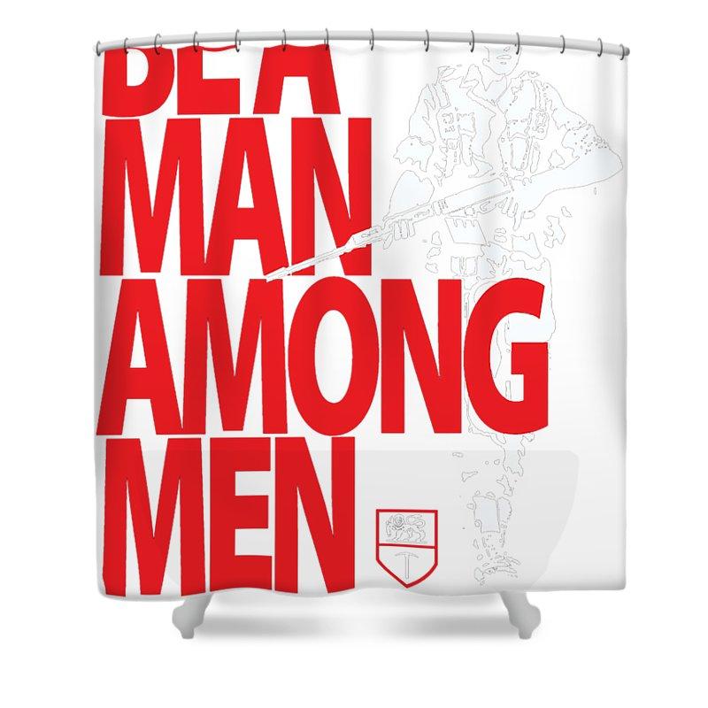 be a man among men shower curtain