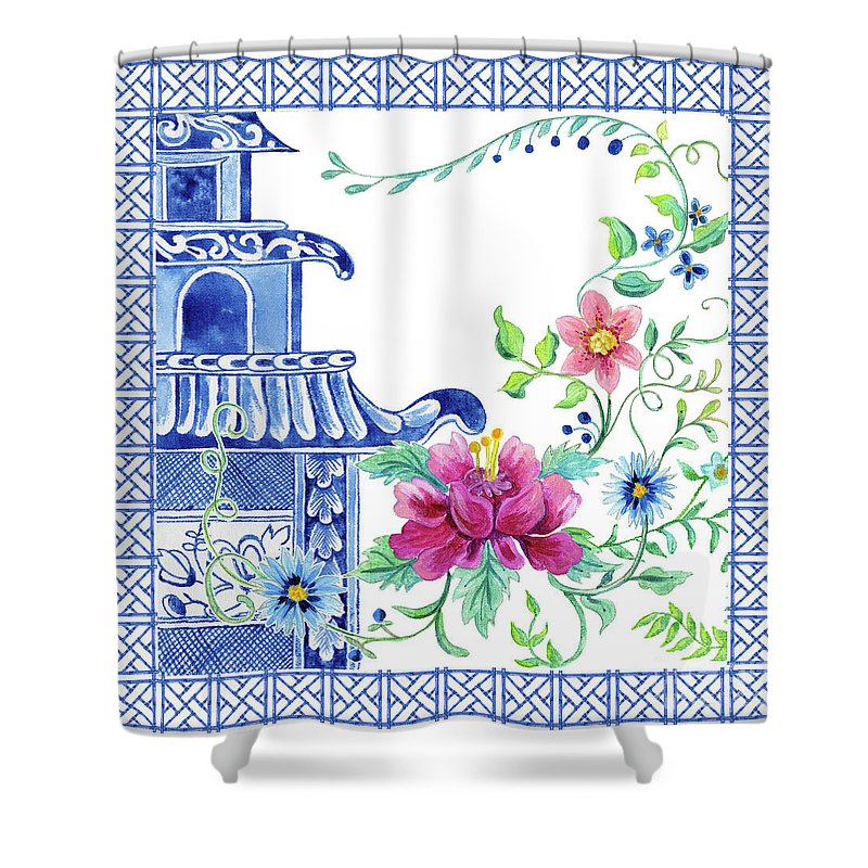 blue asian influence 10 vintage style chinoiserie floral pagoda w chinese chippendale border shower curtain