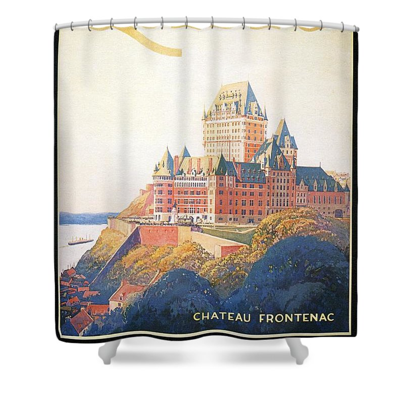 chateau frontenac luxury hotel in quebec canada vintage travel advertising poster shower curtain