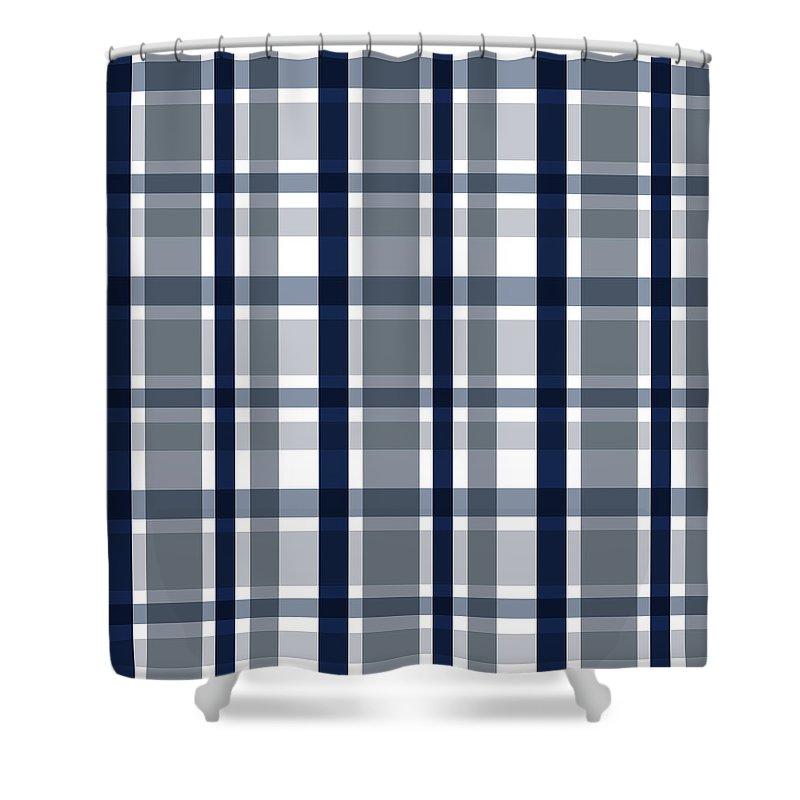 dallas sports fan silver navy blue plaid striped shower curtain