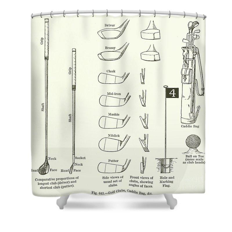 golf clubs caddie bag etc shower curtain