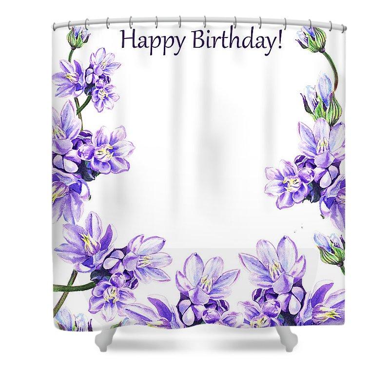 happy birthday purple flowers shower curtain