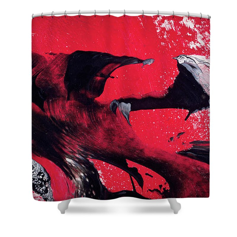 hope red black and white abstract art painting shower curtain