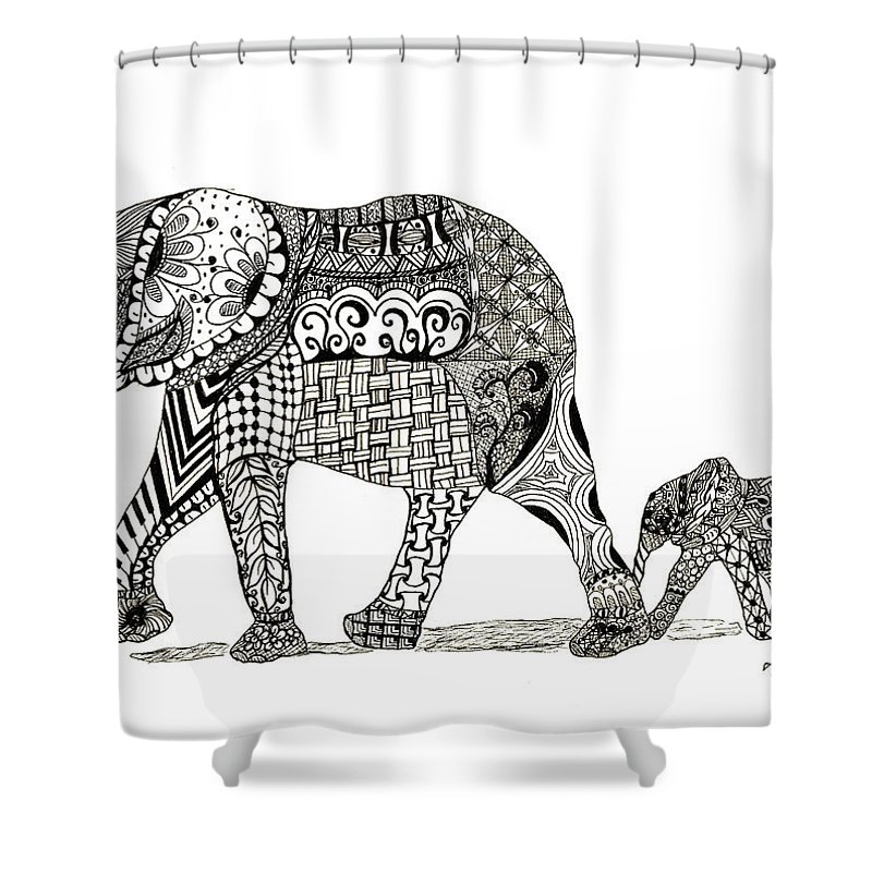 momma and baby elephant shower curtain