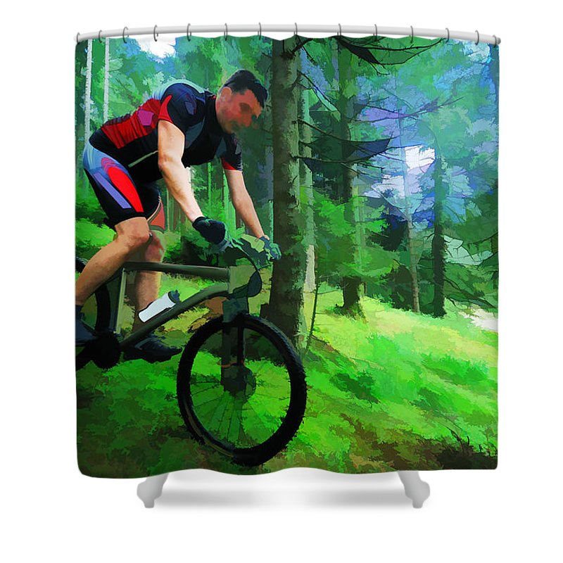 mountain biker in the forest bright colors shower curtain