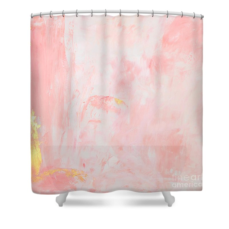 pink gold abstract shower curtain