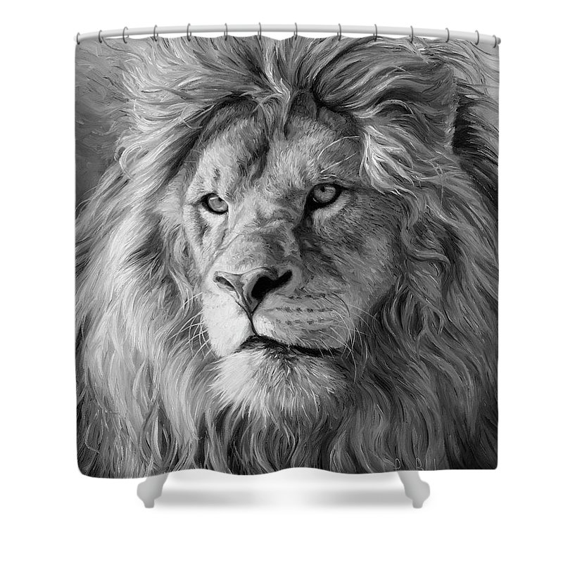 portrait of a lion black and white shower curtain