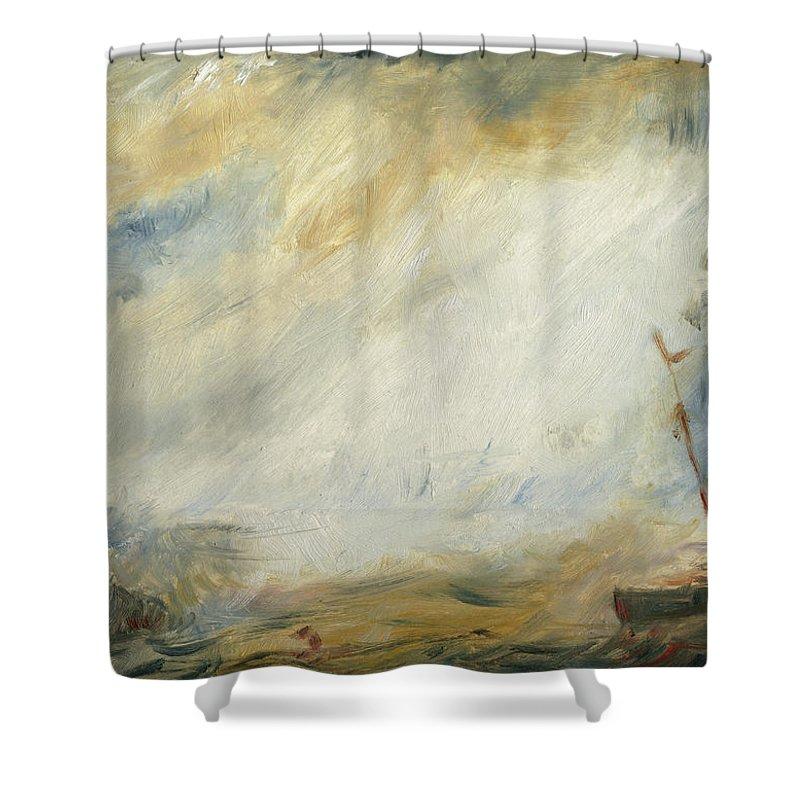 sail ship abstract art shower curtain