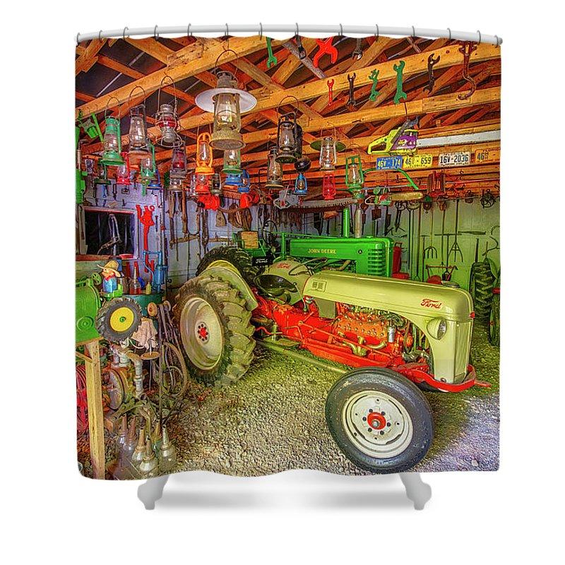 tractor garage shower curtain