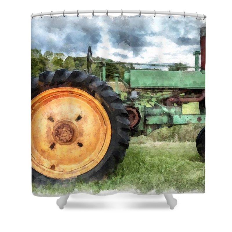 vintage john deere tractor watercolor shower curtain
