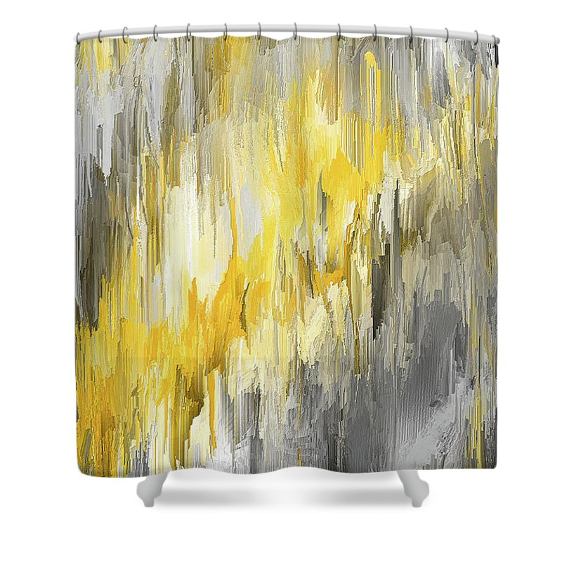 winter sun yellow and gray contemporary art shower curtain