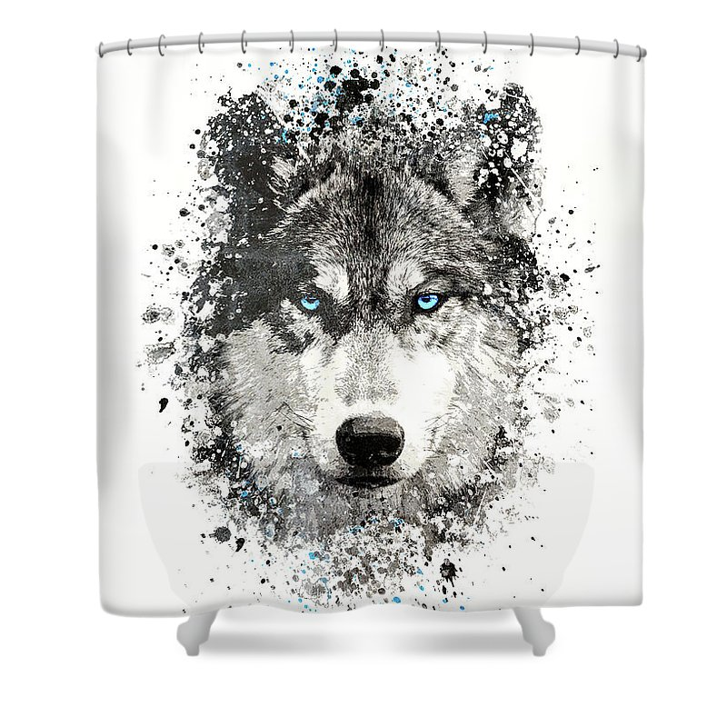 black and white wolf with blue eyes shower curtain