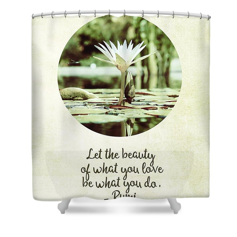 zen flower water lily with inspirational quote shower curtain