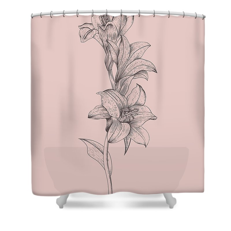lily blush pink flower shower curtain