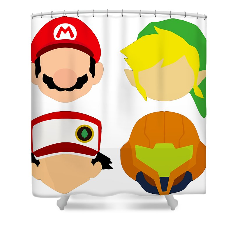 nintendo characters shower curtain