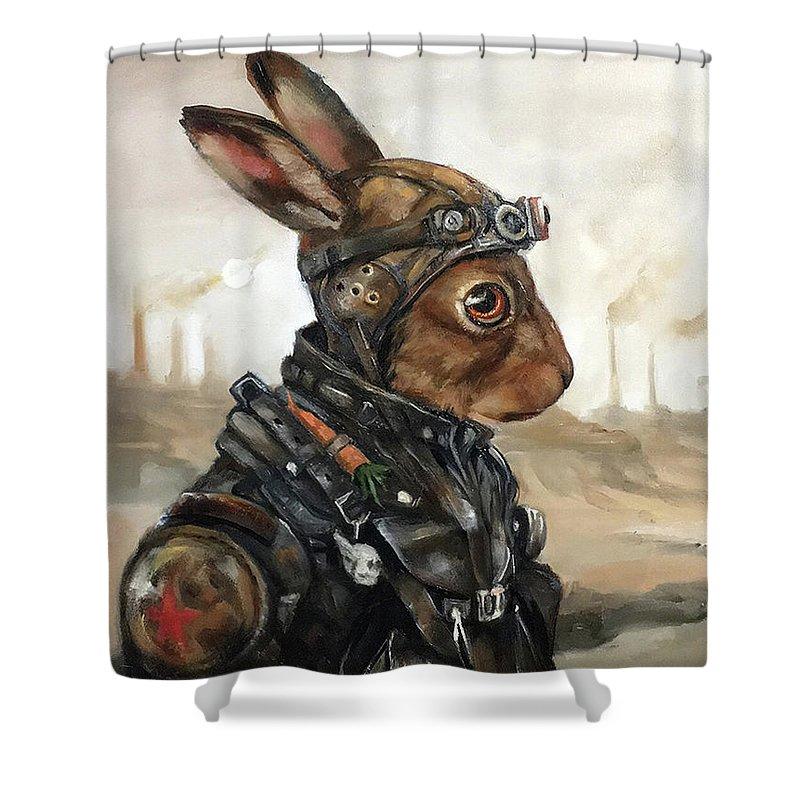 wasteland rabbit shower curtain