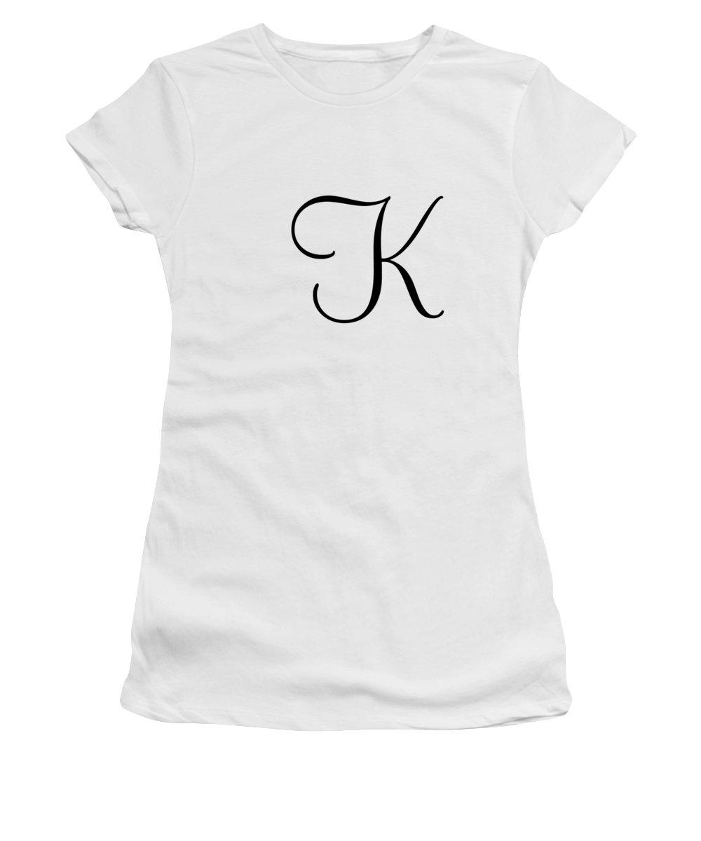 K In Script : script, Black, Simple, Script, Women's, T-Shirt, Custom, Fashions