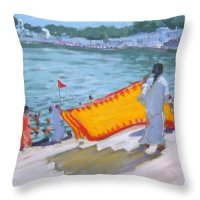 Drying Sari Pushkar Throw Pillow for Sale by Andrew Macara
