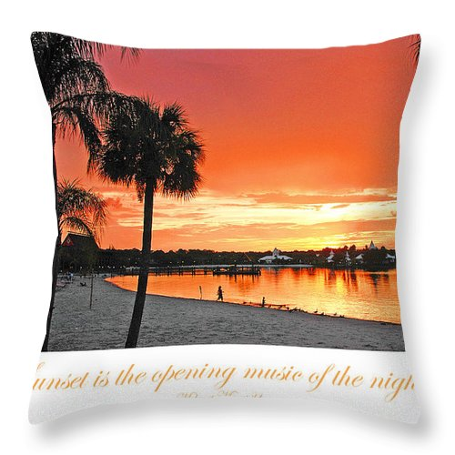 tropical beach sunset with palm tree silhouettes throw pillow